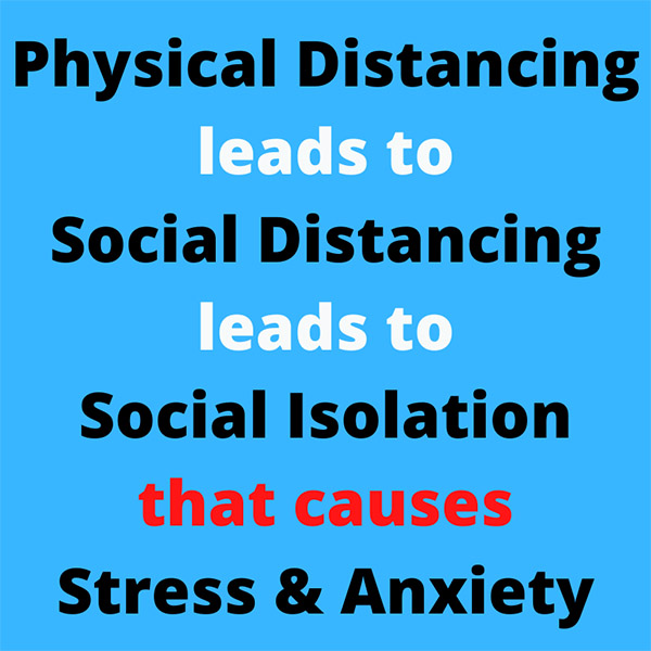 Physical Distancing leads to Social Distancing leads to Social Isolation that causes Stress & Anxiety. Book in your Virtual Halo session.